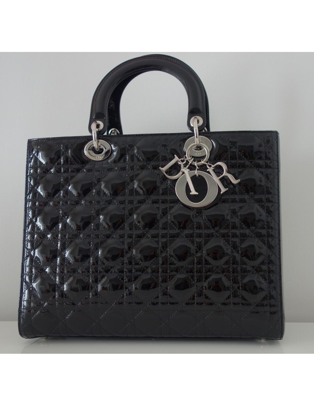 8fe7195e5ab SAC LADY DIOR VERNI NOIR GRAND MODELE - Atoutluxe Boutique