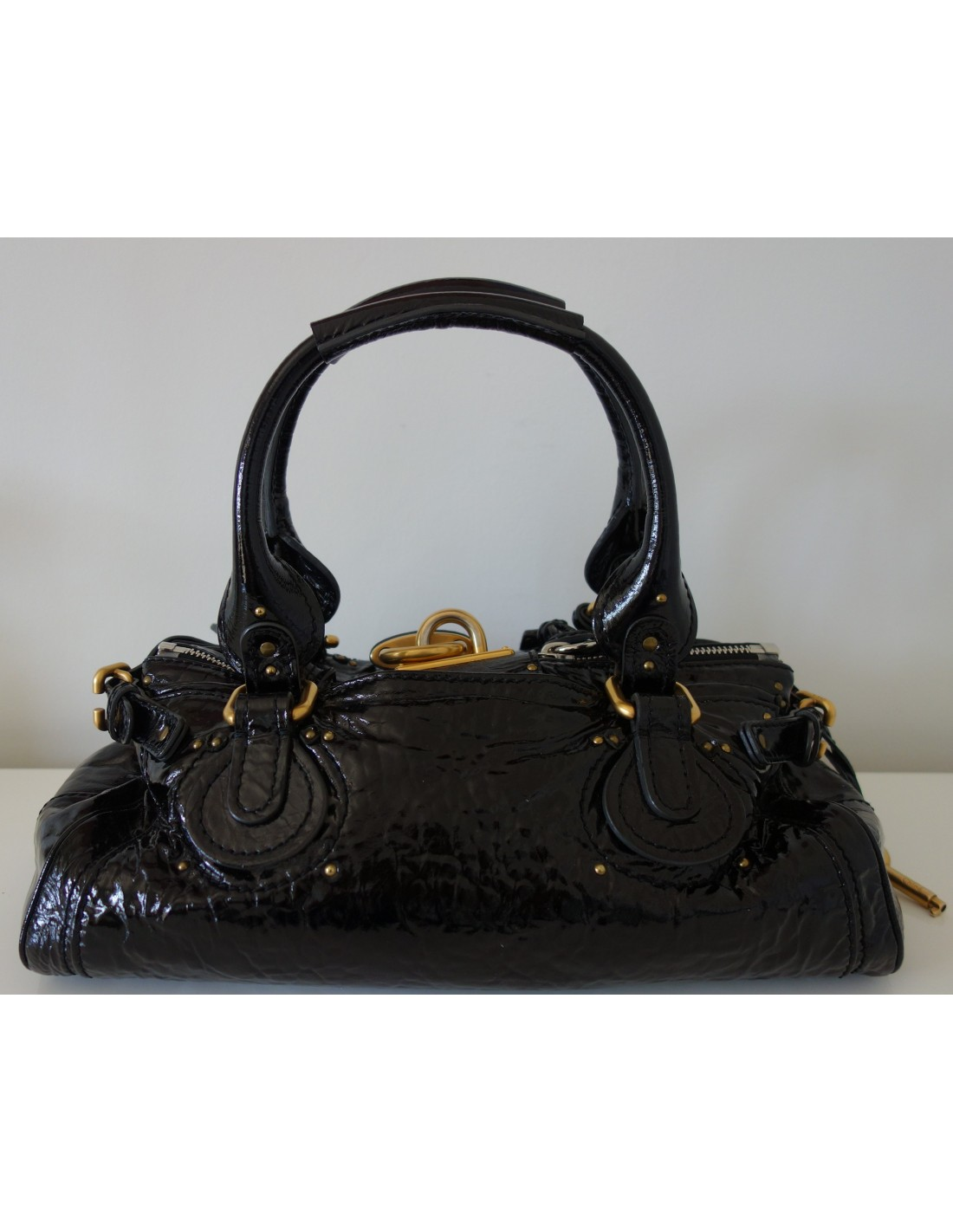 sac chloe paddington cuir verni noir atoutluxe boutique. Black Bedroom Furniture Sets. Home Design Ideas