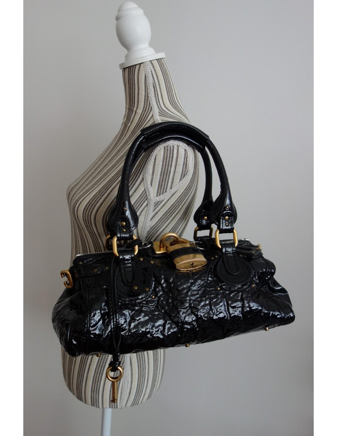 Sac Atoutluxe Boutique Noir Cuir Verni Chloe Paddington qGVUpSzM