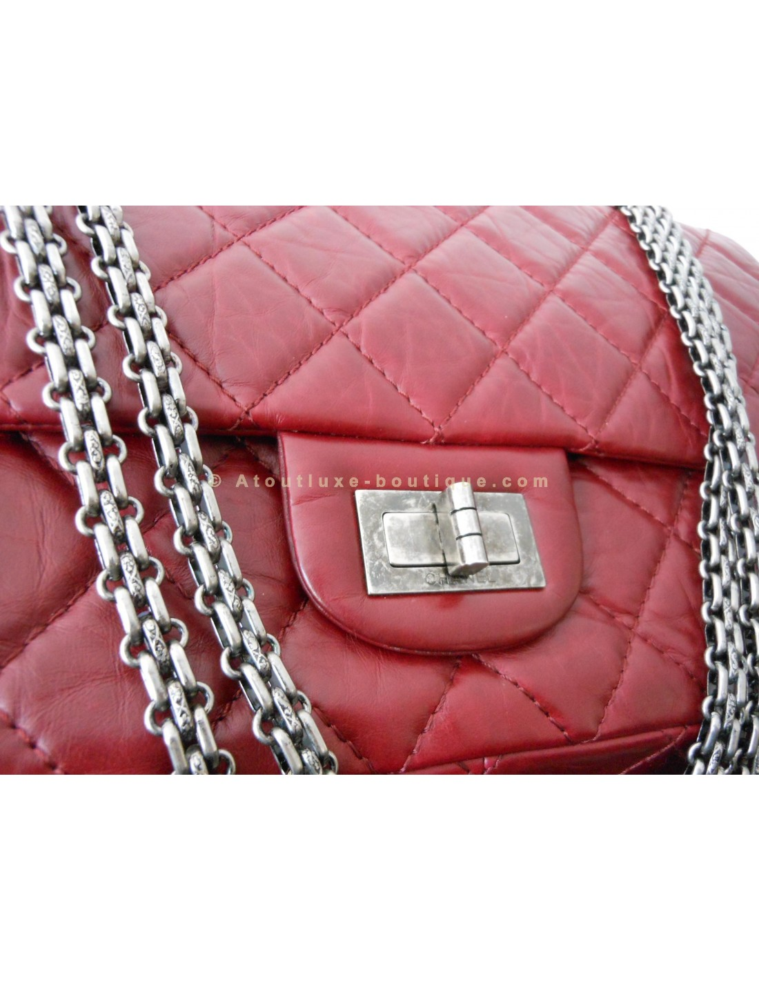 Sac chanel jumbo rouge bordeaux atoutluxe boutique for Sac chanel interieur