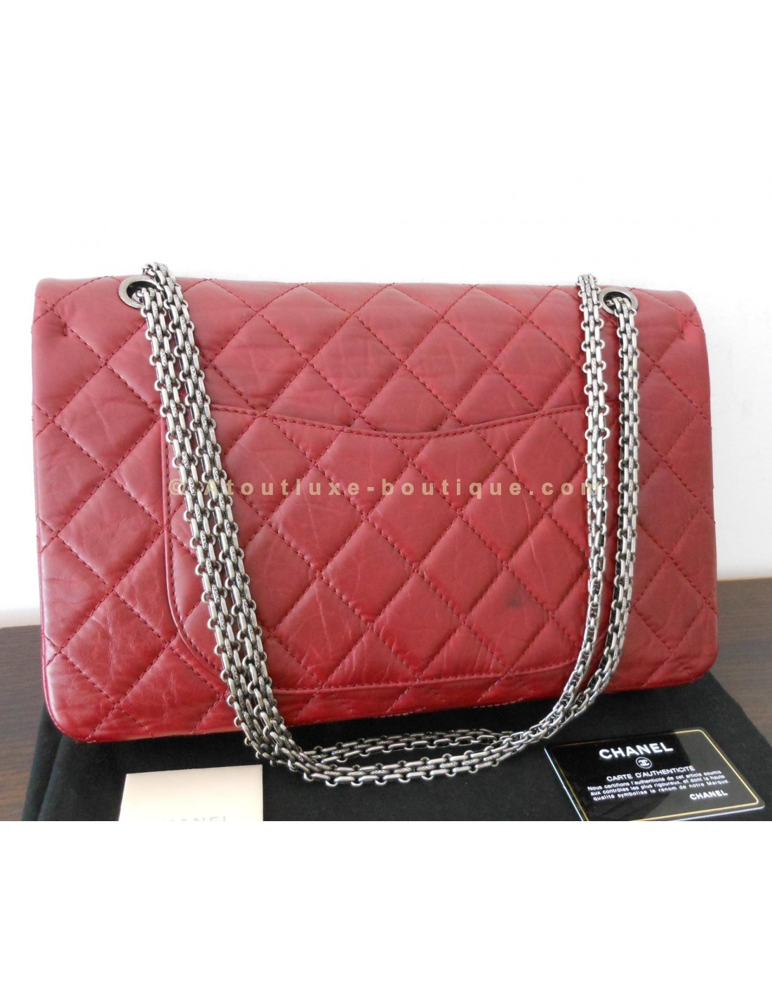SAC CHANEL 2.55 JUMBO ROUGE BORDEAUX - Atoutluxe Boutique 56c337471e3