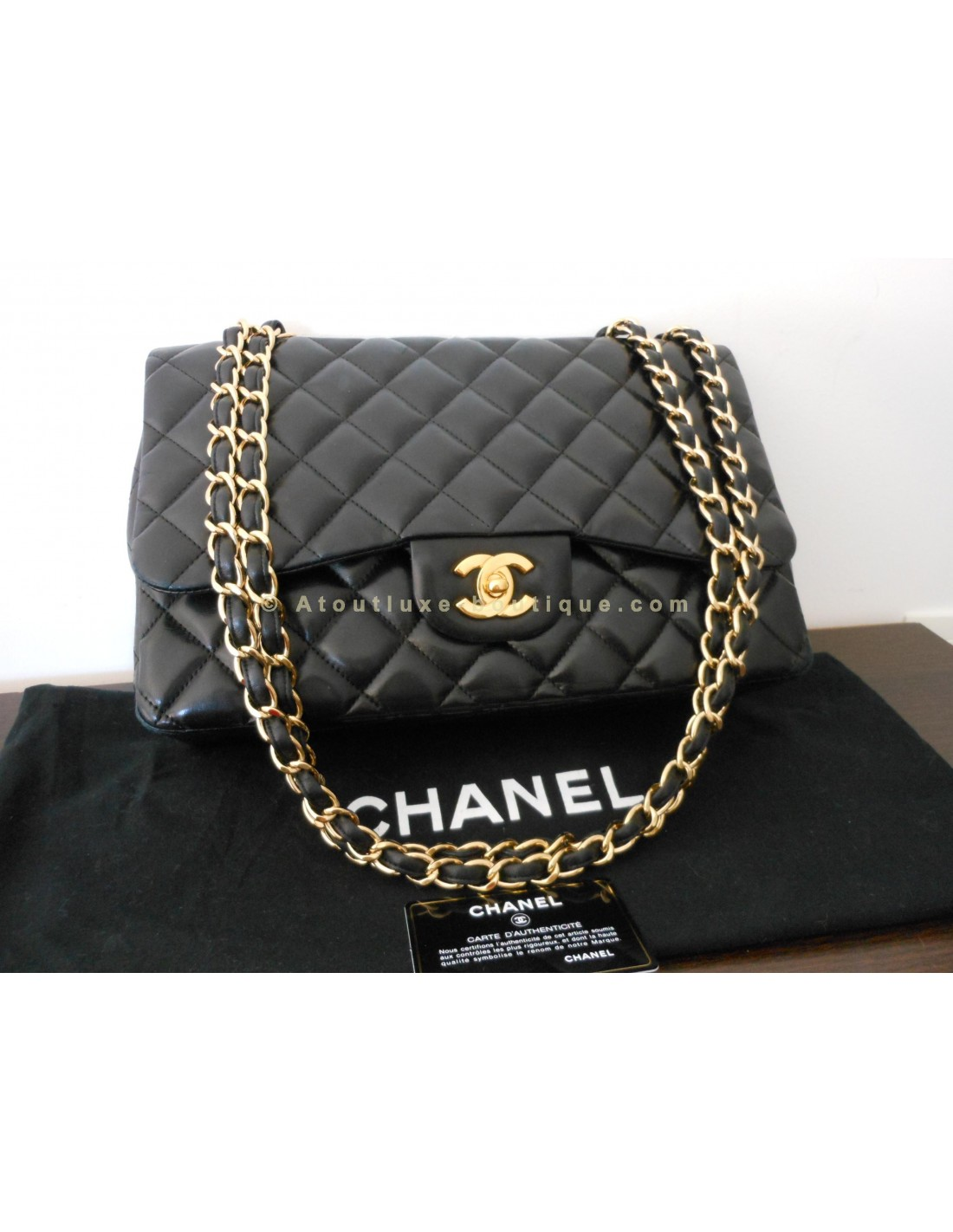 Sac chanel mademoiselle noir grand modele atoutluxe boutique for Sac chanel interieur