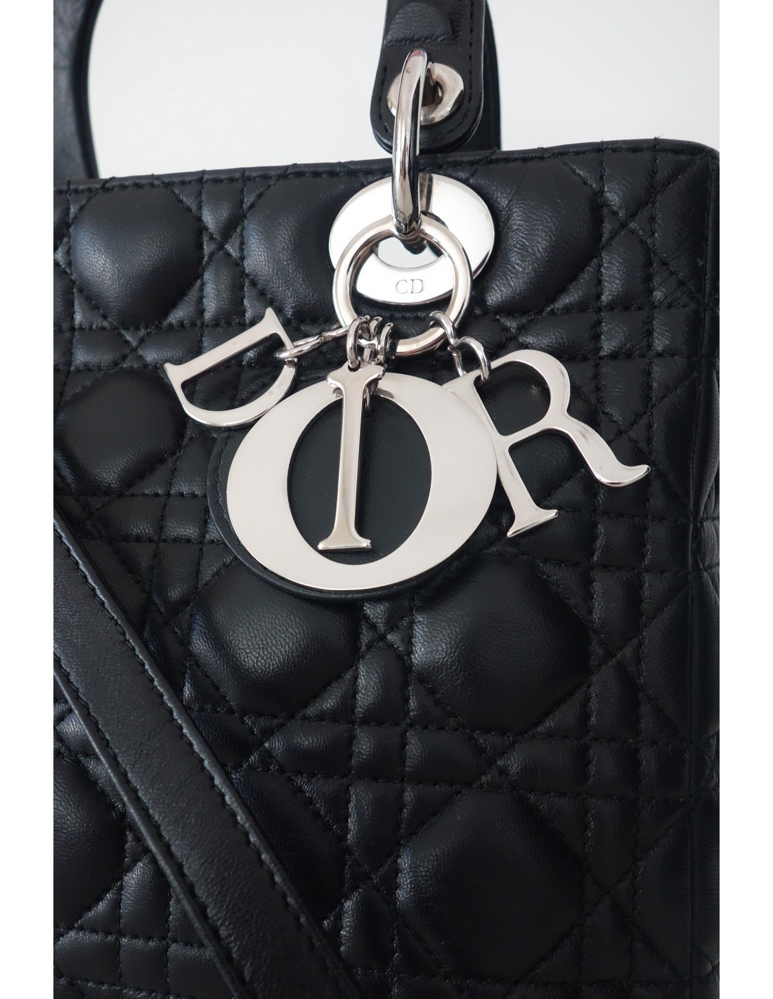 SAC LADY DIOR MEDIUM CUIR NOIR - Atoutluxe Boutique