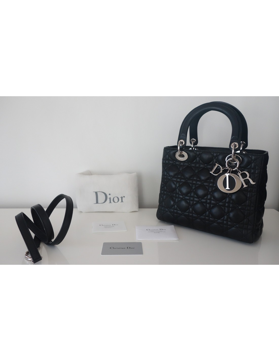 0d4078810f SAC LADY DIOR MEDIUM CUIR NOIR - Atoutluxe Boutique