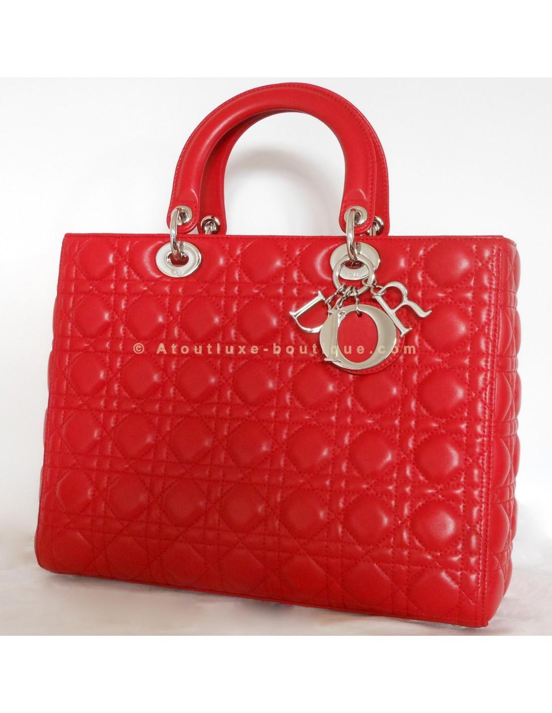 28a19b85360 SAC LADY DIOR ROUGE GRAND MODELE - Atoutluxe Boutique