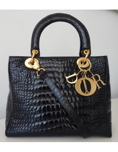 SAC LADY DIOR CROCODILE NOIR