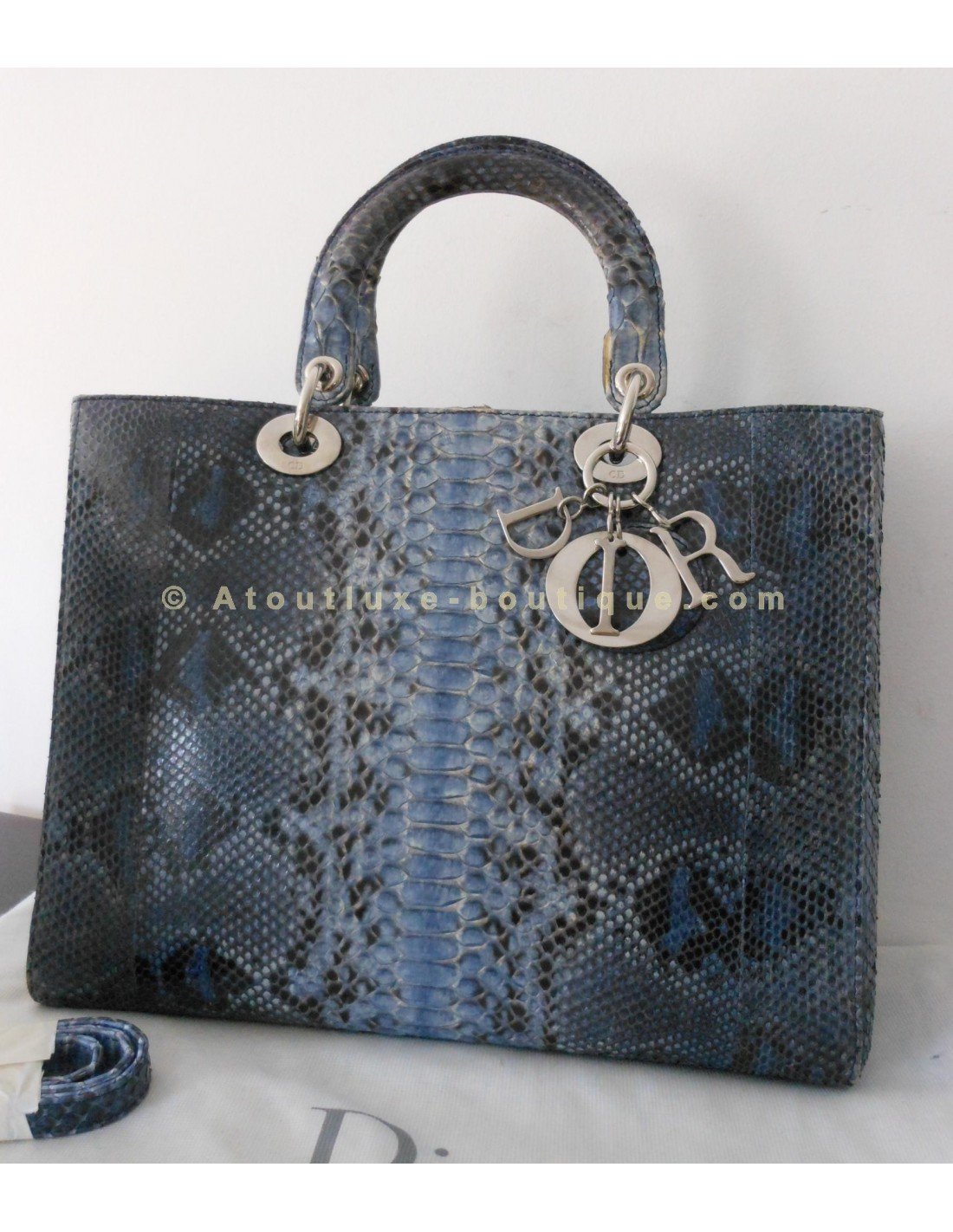 84b91100613 SAC LADY DIOR PYTHON BLEU - GRAND MODELE - Atoutluxe Boutique