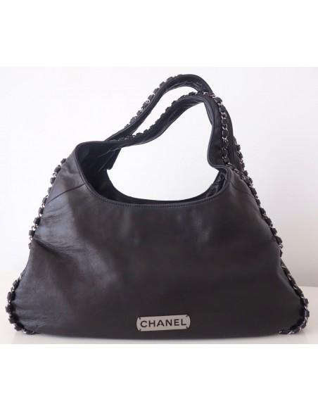 Sac Chanel Hobo cuir noir