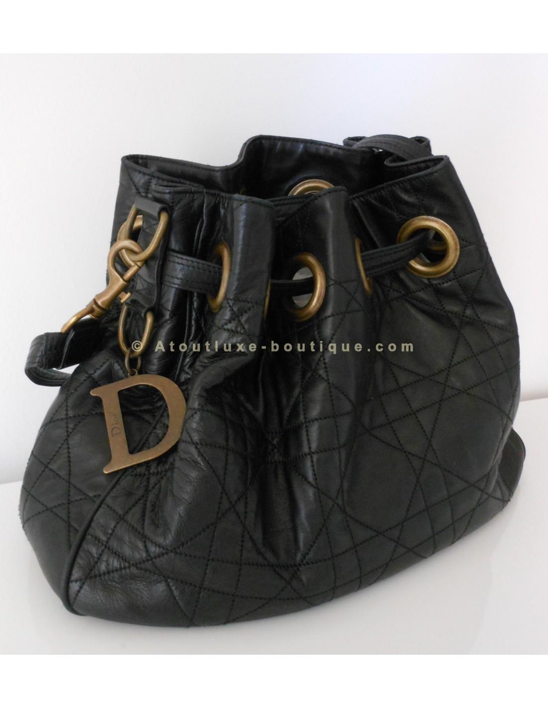 sac dior cannage cuir noir atoutluxe boutique. Black Bedroom Furniture Sets. Home Design Ideas