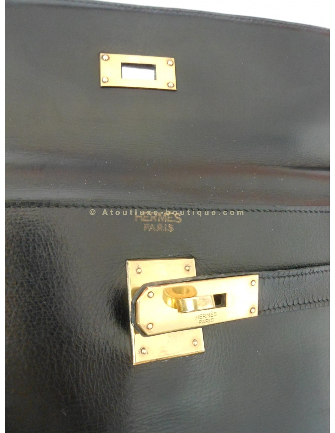SAC HERMES KELLY 32 NOIR VINTAGE - Atoutluxe Boutique 13ace77aa6a