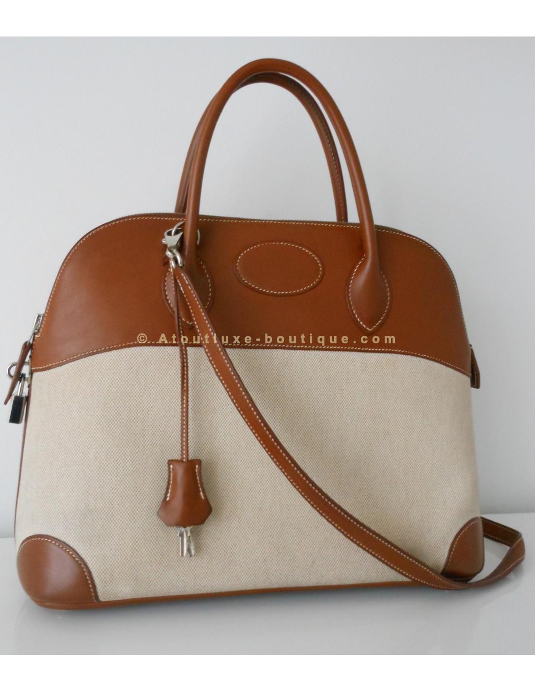 SAC HERMES BOLIDE 35 BICOLORE - Atoutluxe Boutique 588b5727590