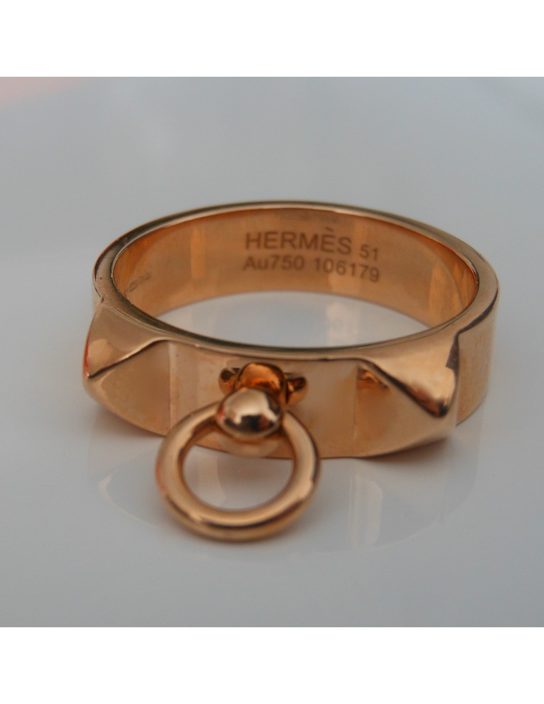 BAGUE HERMES COLLIER DE CHIEN OR ROSE - Atoutluxe Boutique f3b87c60164