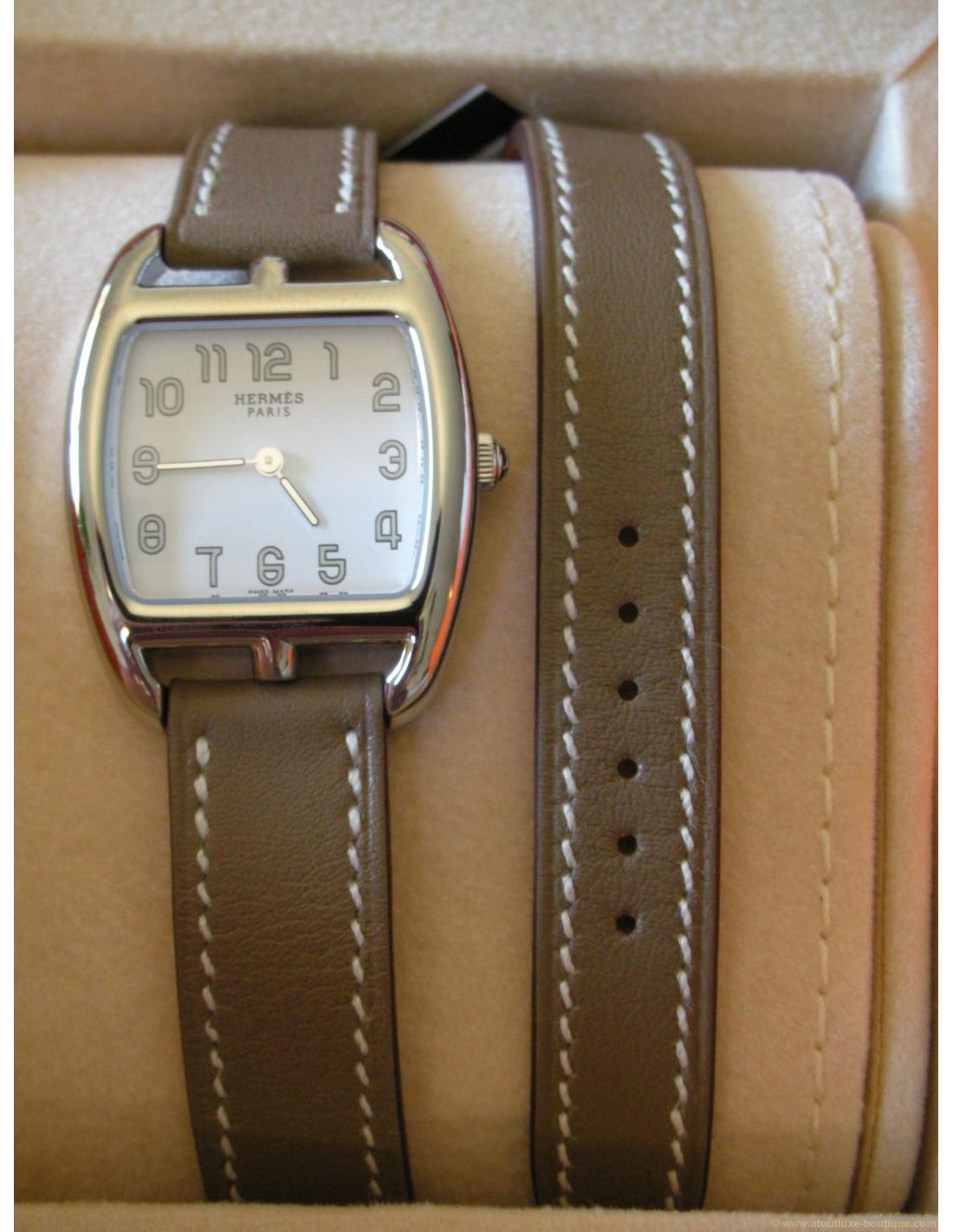 0198c65d271 MONTRE HERMES CAPE COD TONNEAU PM BRACELET ETOUPE - Atoutluxe Boutique