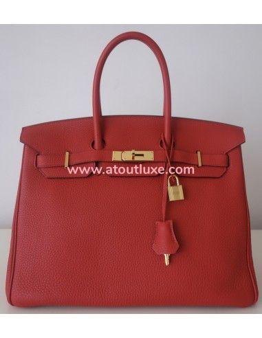 Sac Hermes Birkin 35 rouge
